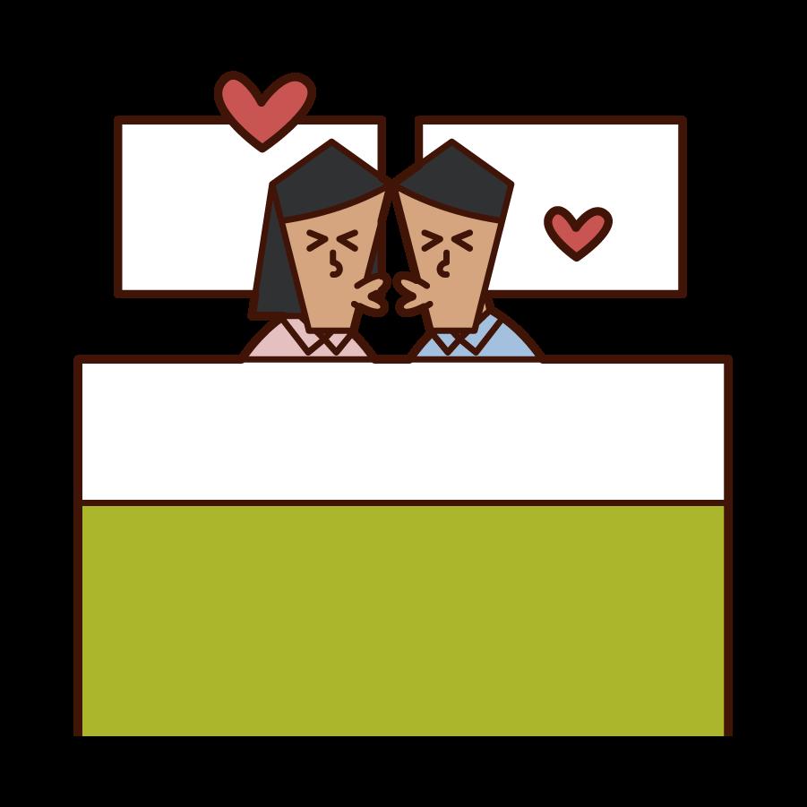 ベッドでキスをする夫婦・カップルのイラスト