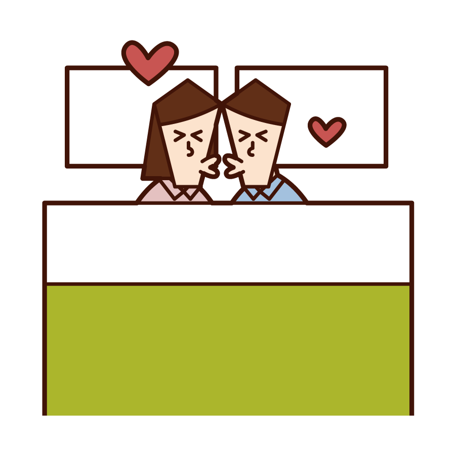 Illustration of a couple kissing in bed