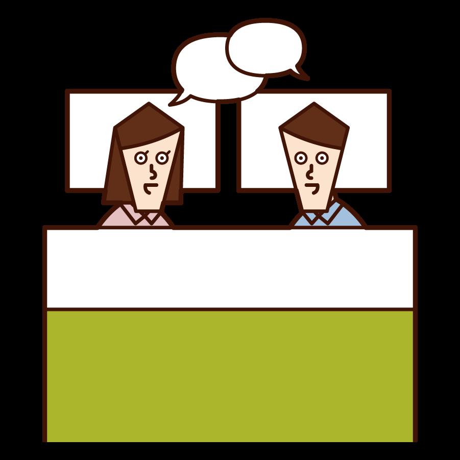 仲良く会話する夫婦・カップルのイラスト