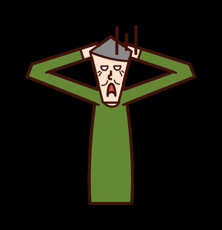 頭を抱えて絶望する老人(男性)のイラスト