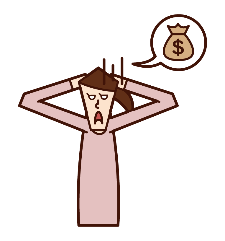 Illustration of a woman who suffers from lack of money