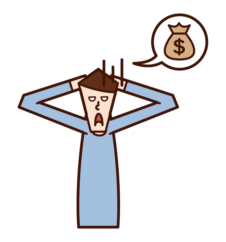 Illustration of a man suffering from lack of money
