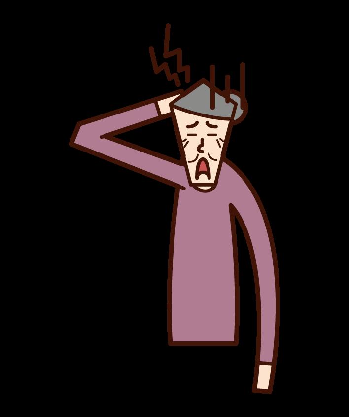 頭痛老人(女性)插圖