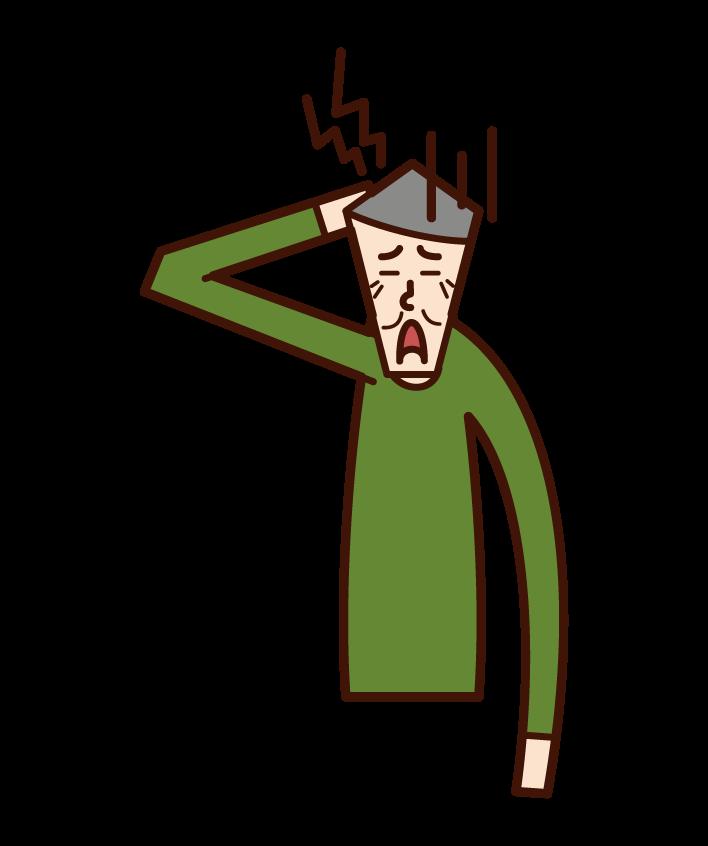 頭痛老人(男性)插圖