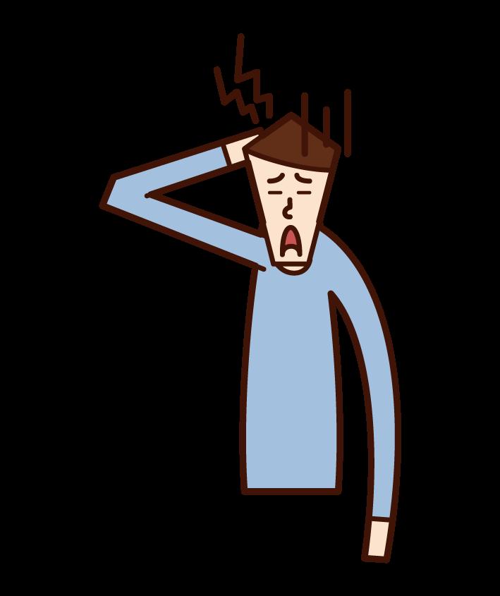 頭痛の人(男性)のイラスト