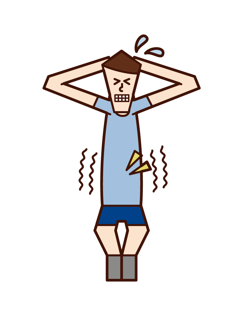 腹筋を鍛える人(男性)のイラスト