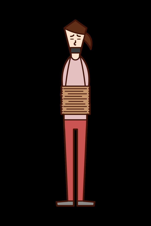 拉致された人(女性)のイラスト