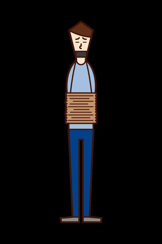 拉致された人(男性)のイラスト