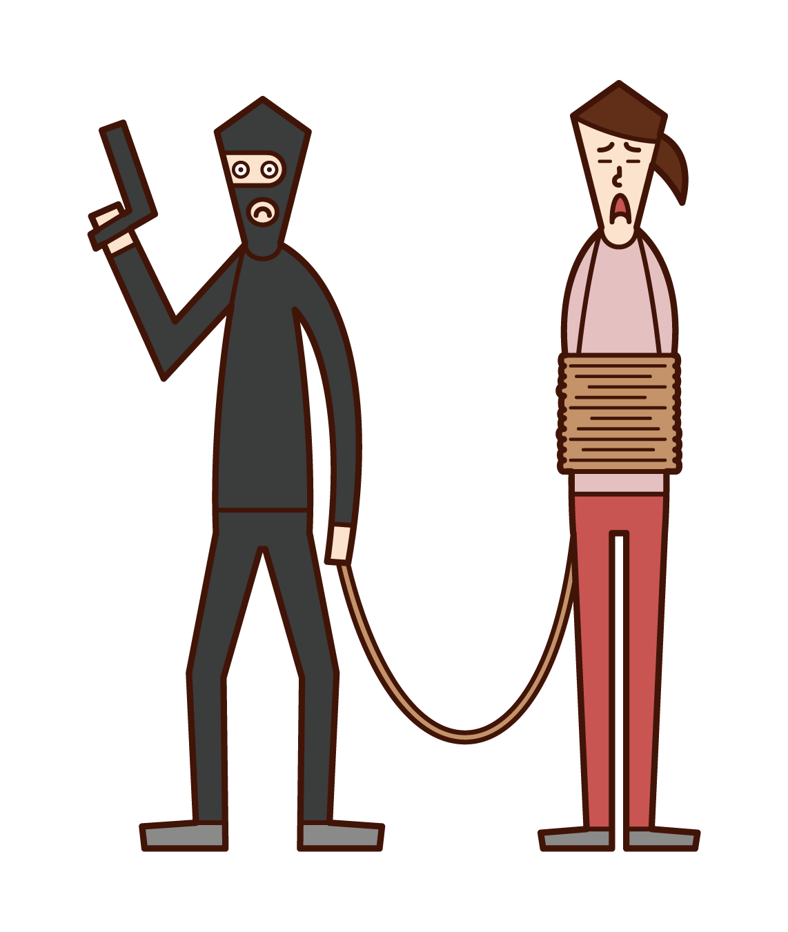 Illustration of a hostage (woman)