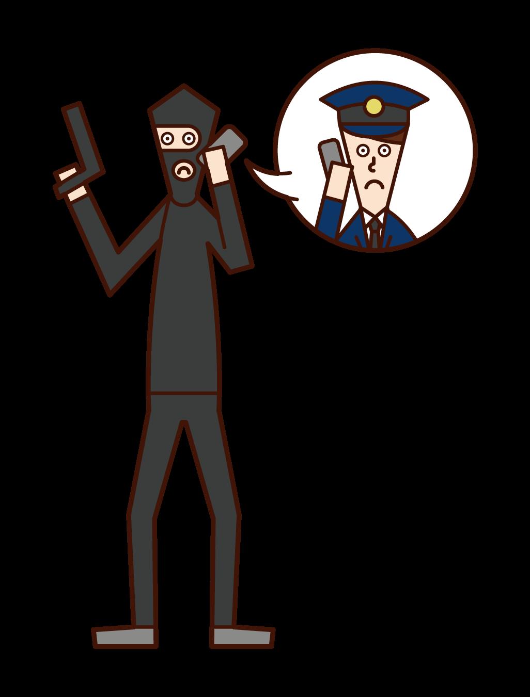 身代金を要求する強盗犯(男性)のイラスト