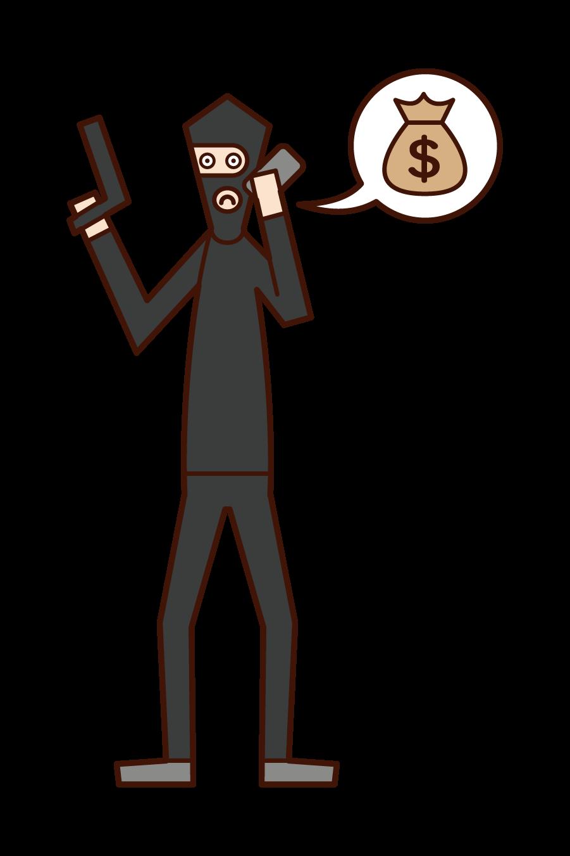 Illustration of a robber (man) demanding a ransom