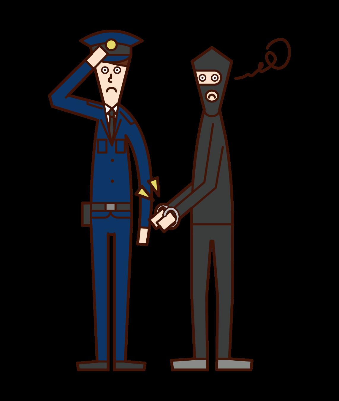 犯人を逮捕する警察官(男性)のイラスト