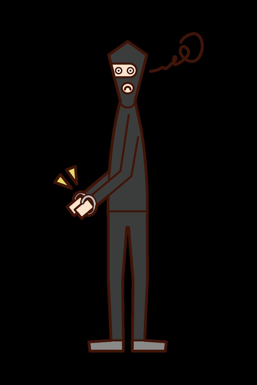 逮捕された強盗犯(男性)のイラスト