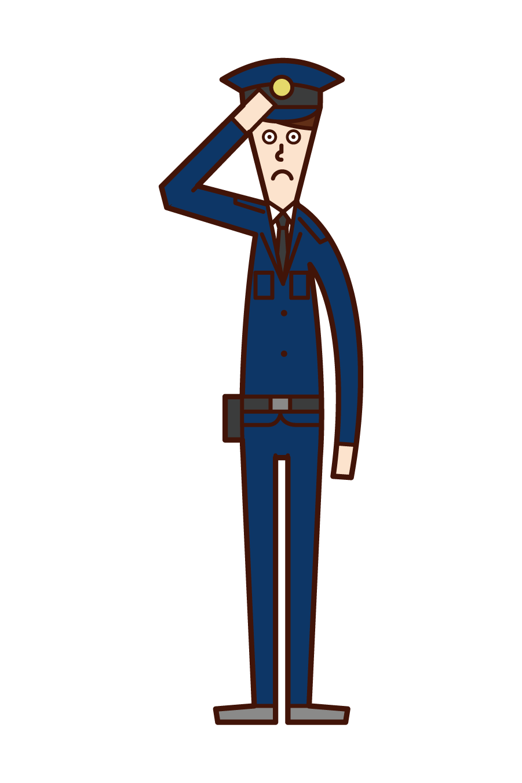 敬礼する警察官(男性)のイラスト