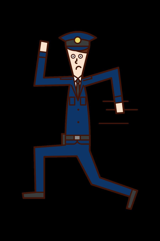 走る警察官(男性)のイラスト