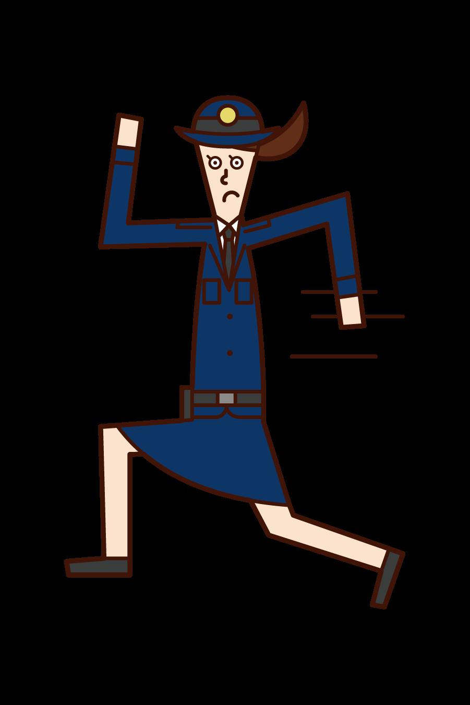 走る警察官(女性)のイラスト
