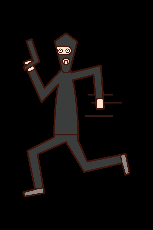 走る泥棒(男性)のイラスト