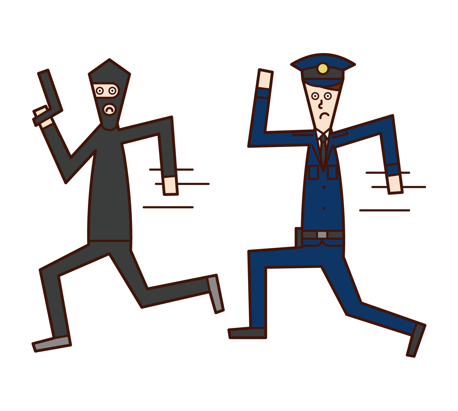 Illustration of a police officer (man) chasing a thief
