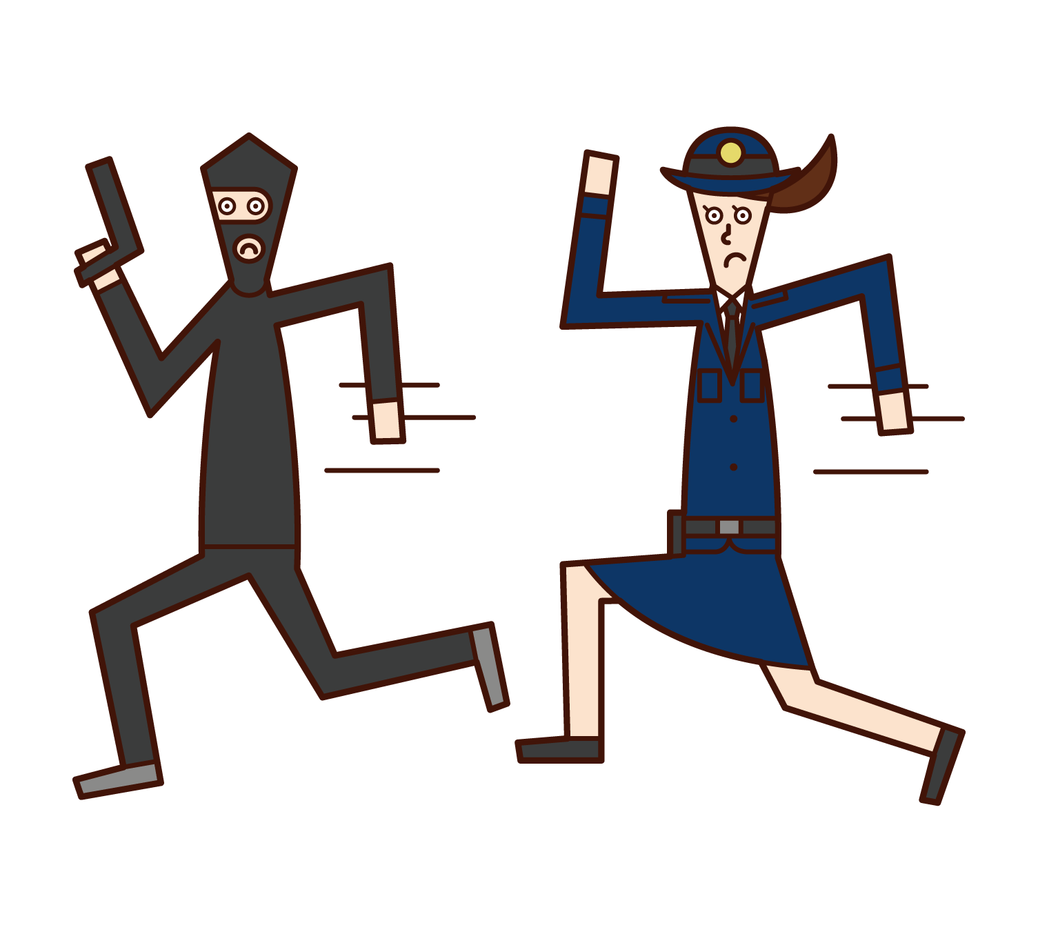 Illustration of a police officer (woman) chasing a thief