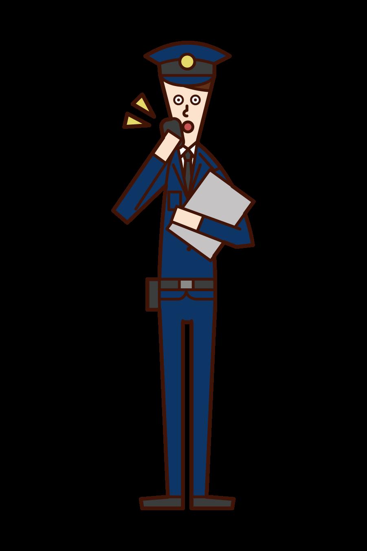 通話する警察官(男性)のイラスト