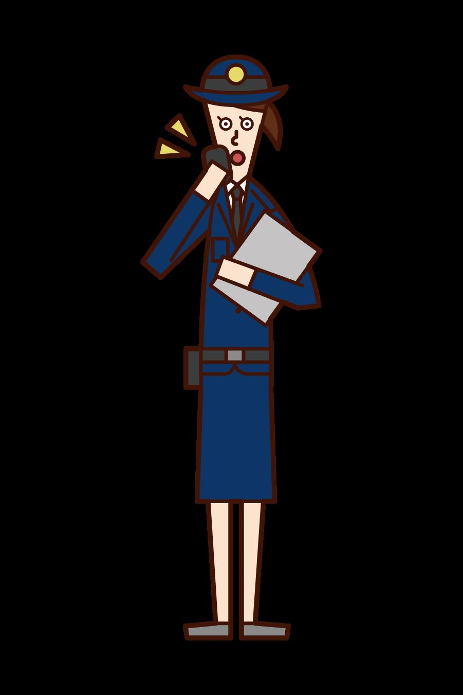 通話する警察官(女性)のイラスト