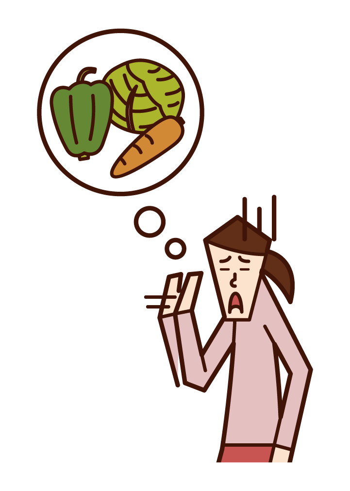 Illustration of a woman who doesn't like vegetables