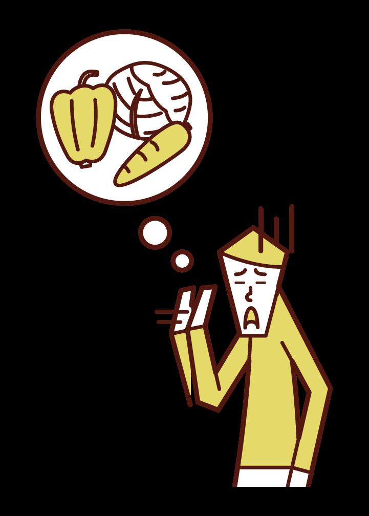野菜嫌いな人(男性)のイラスト