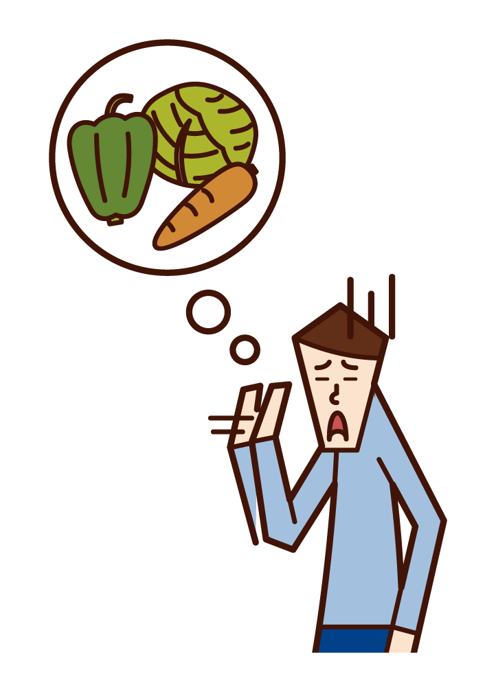 Illustration of a man who doesn't like vegetables