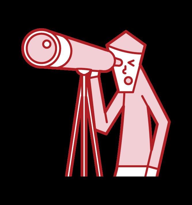 望遠鏡を覗く人(男性)のイラスト