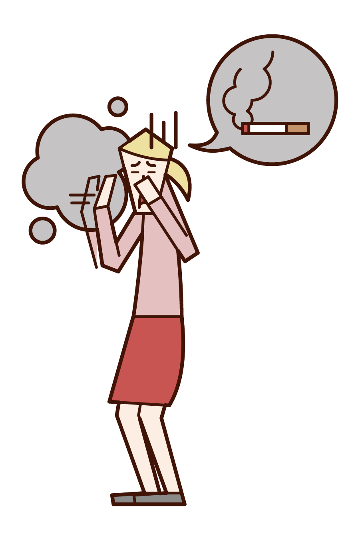 タバコの煙を嫌がる人(女性)のイラスト