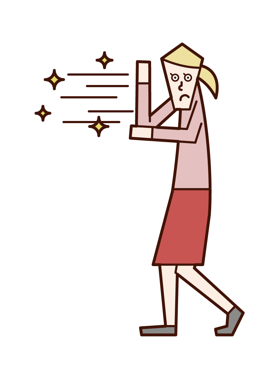 Illustration of a woman who releases a beam from her hand