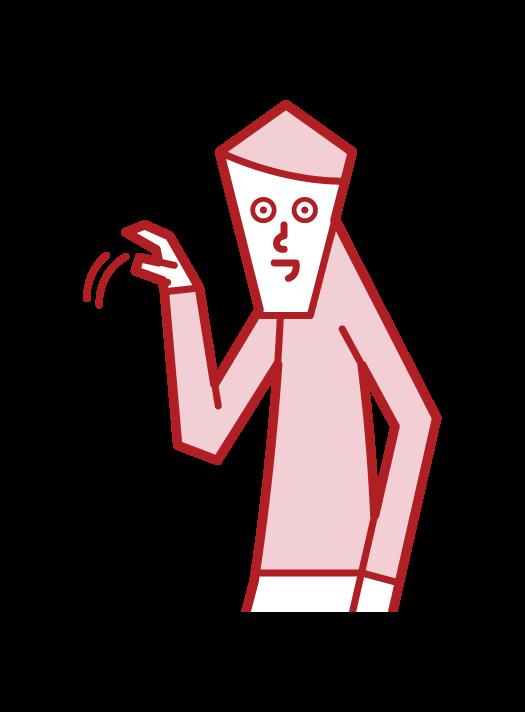 手招きをする人(男性)のイラスト