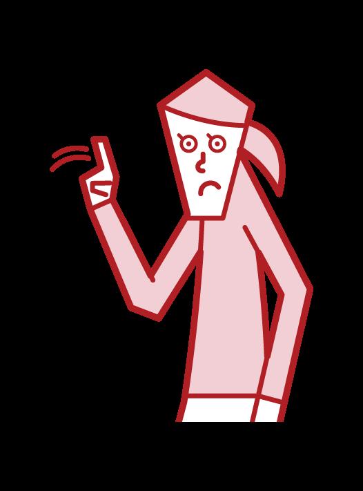 指を左右に振るジェスチャー(女性)のイラスト