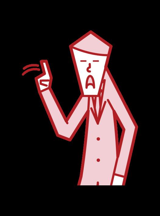 指を左右に振るジェスチャー(男性)のイラスト
