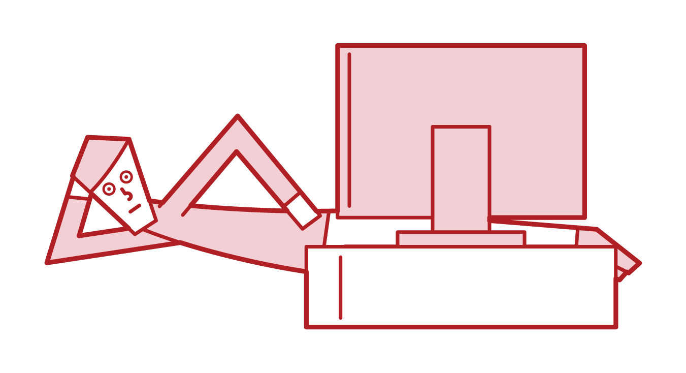 Illustration of a man who watches TV while lying down