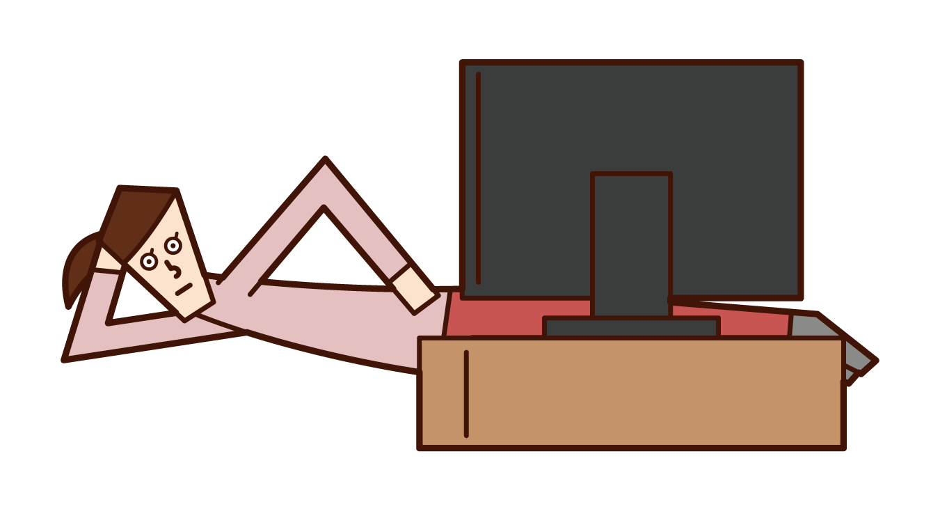 Illustration of a woman who watches TV while lying down