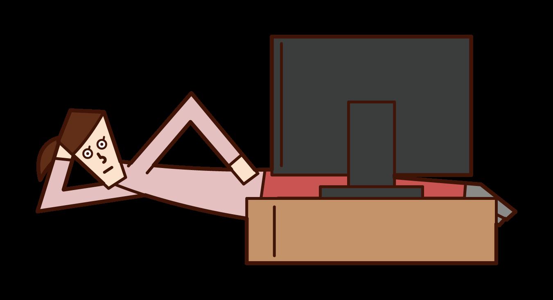寝転びながらテレビを見る人(女性)のイラスト