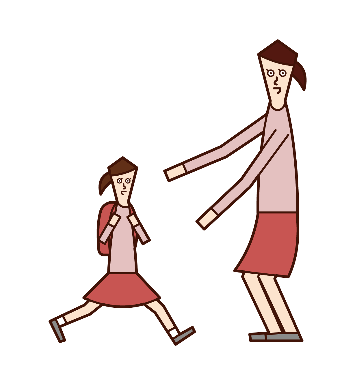 Illustration of a mother greeting her child (daughter)