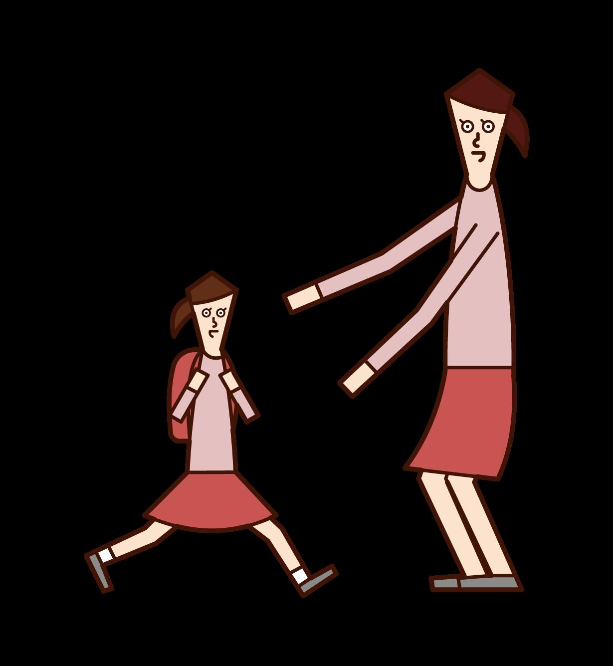 子供(娘)を出迎える母のイラスト