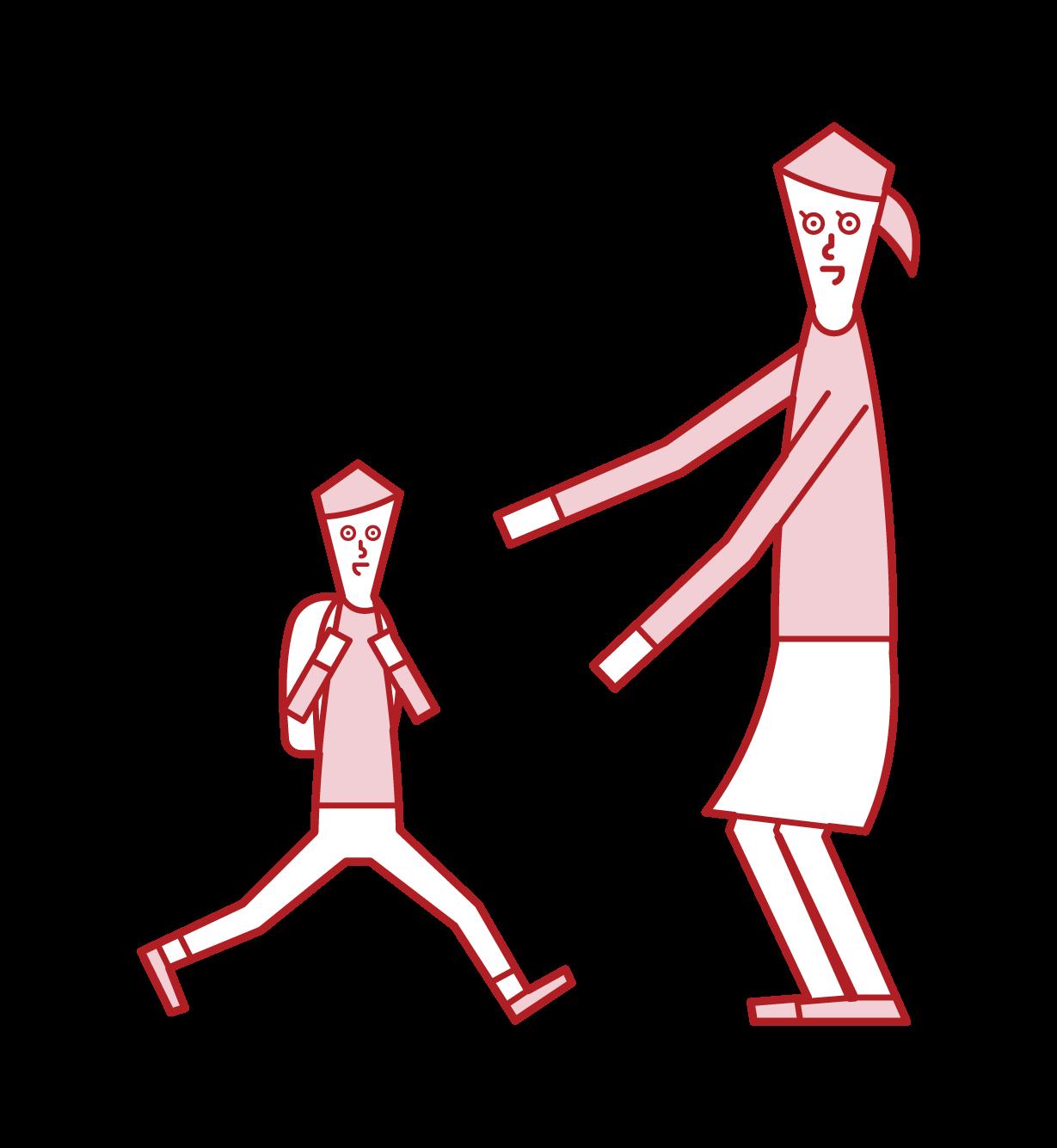 子供(息子)を出迎える母のイラスト