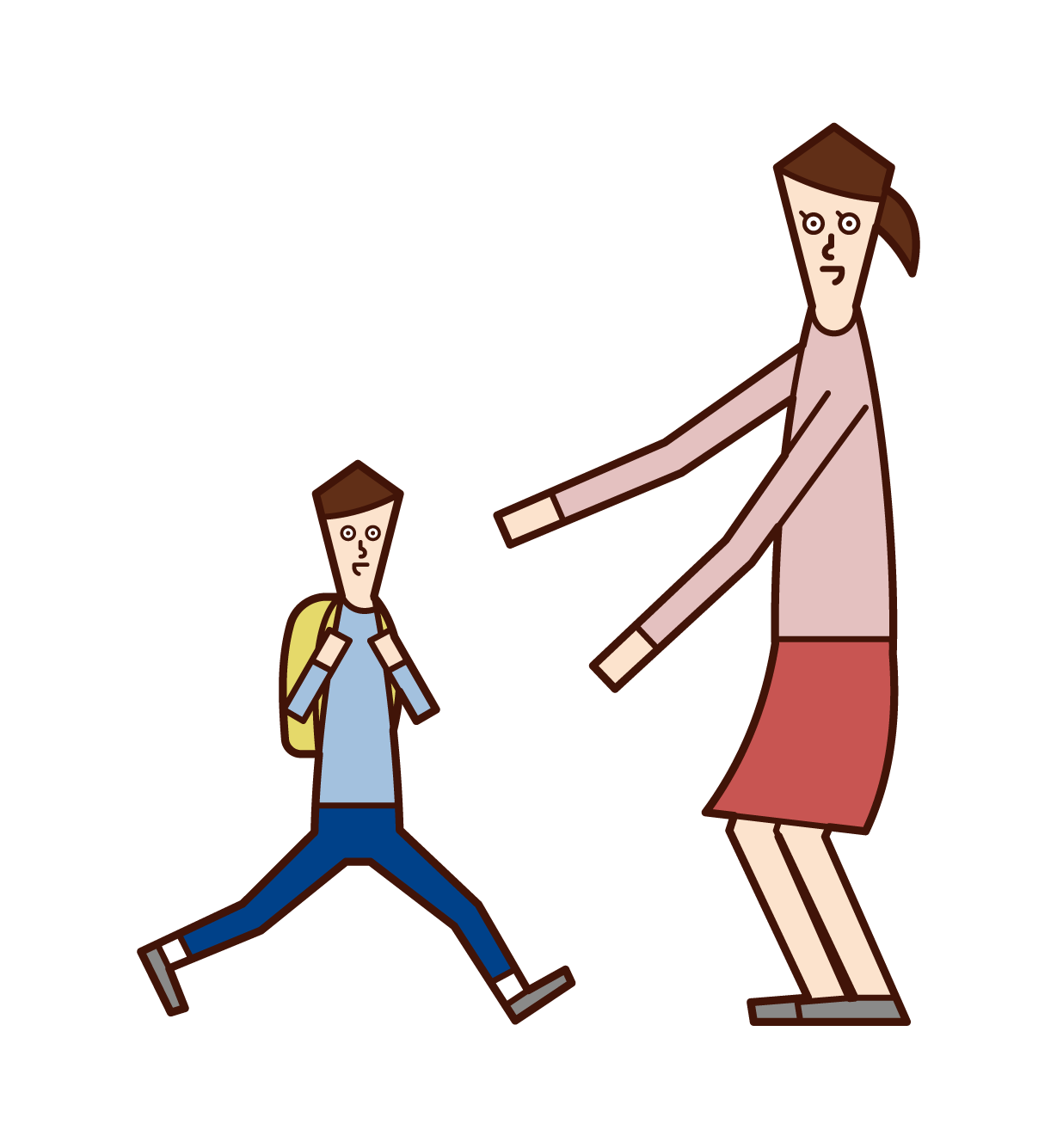 Illustration of a mother greeting her child (son)