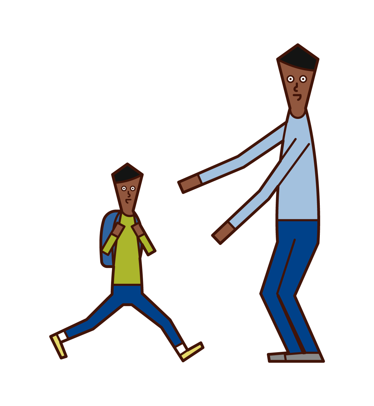 Illustration of a father greeting a child (son)