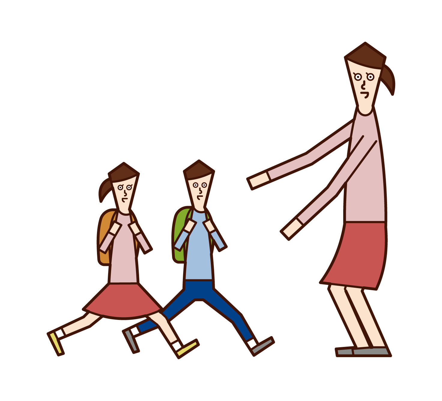 Illustration of a father greeting a child (daughter)