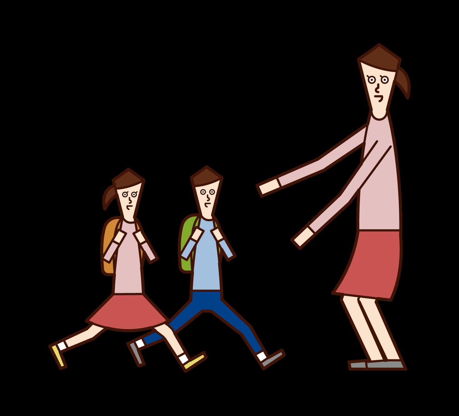 子供たちを出迎える母のイラスト