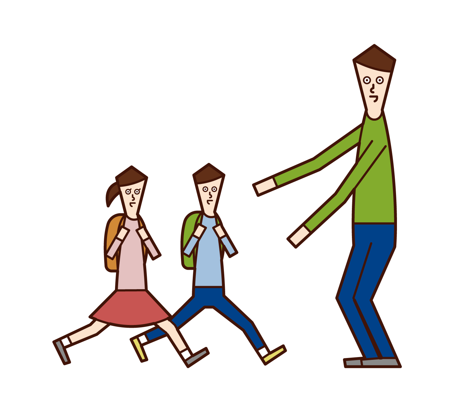 Illustration of a father greeting his children