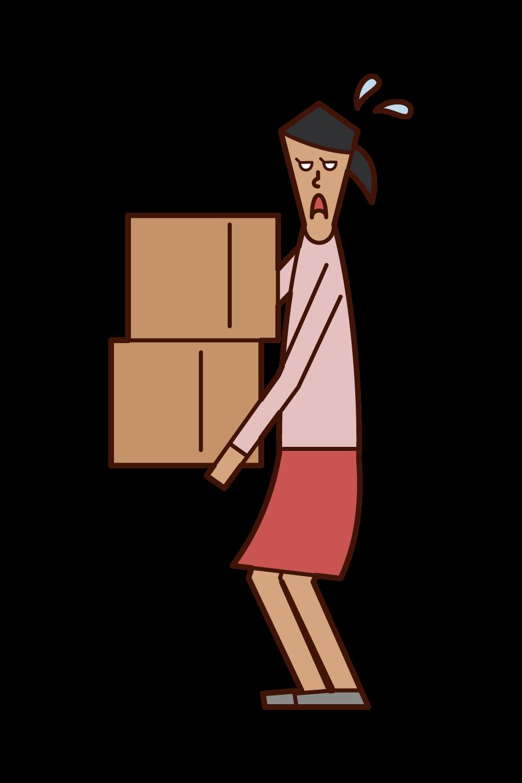 重い荷物を運ぶ人(女性)のイラスト