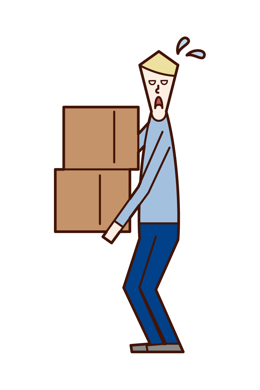Illustration of a man carrying heavy baggage