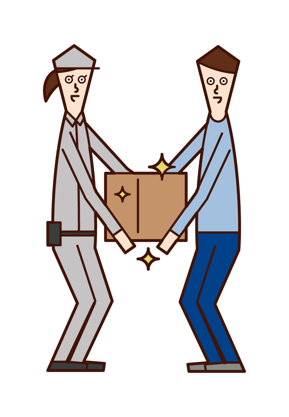 Illustration of a delivery driver (female) handing over a package