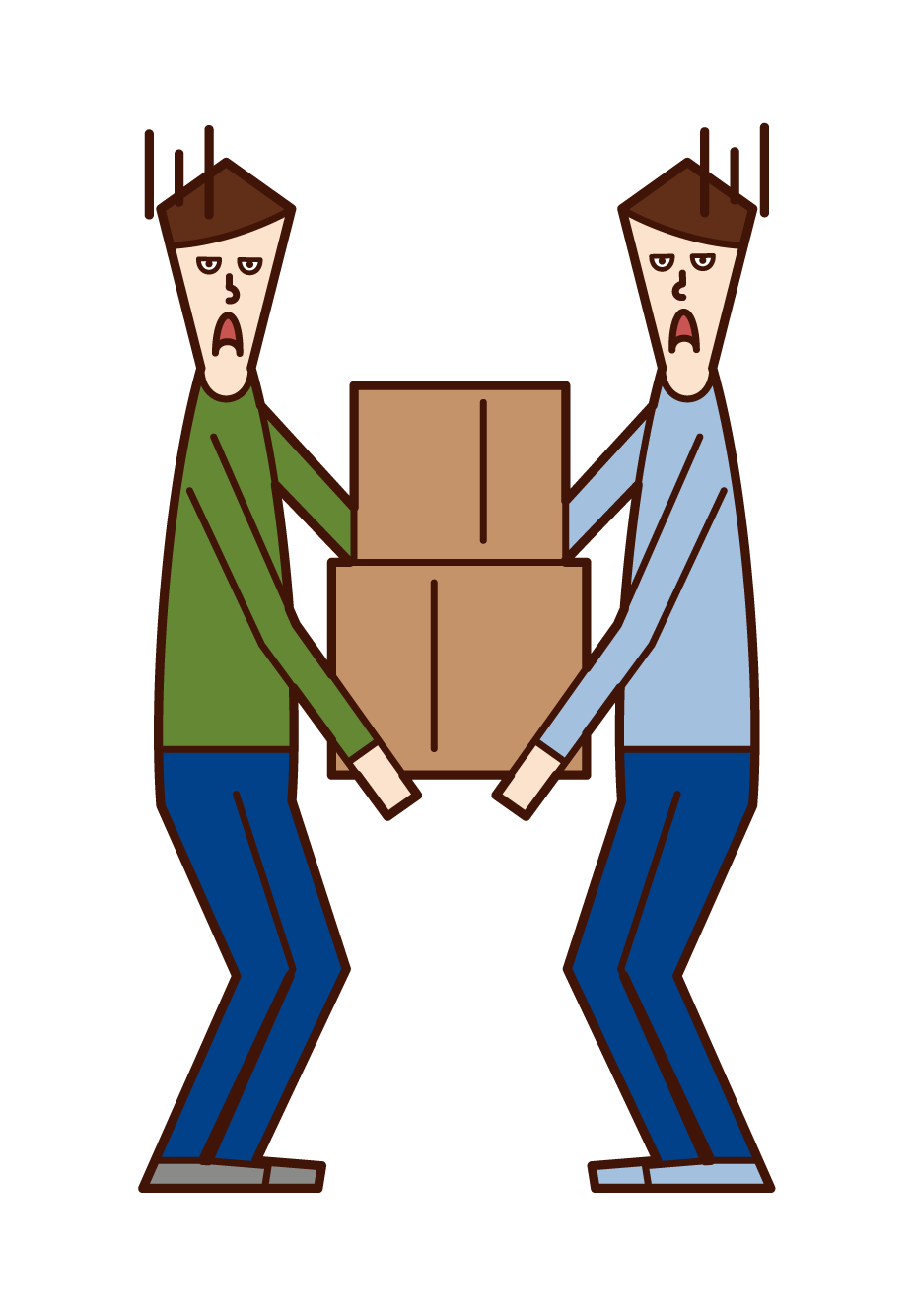 Illustration of people (men) carrying heavy loads by two people
