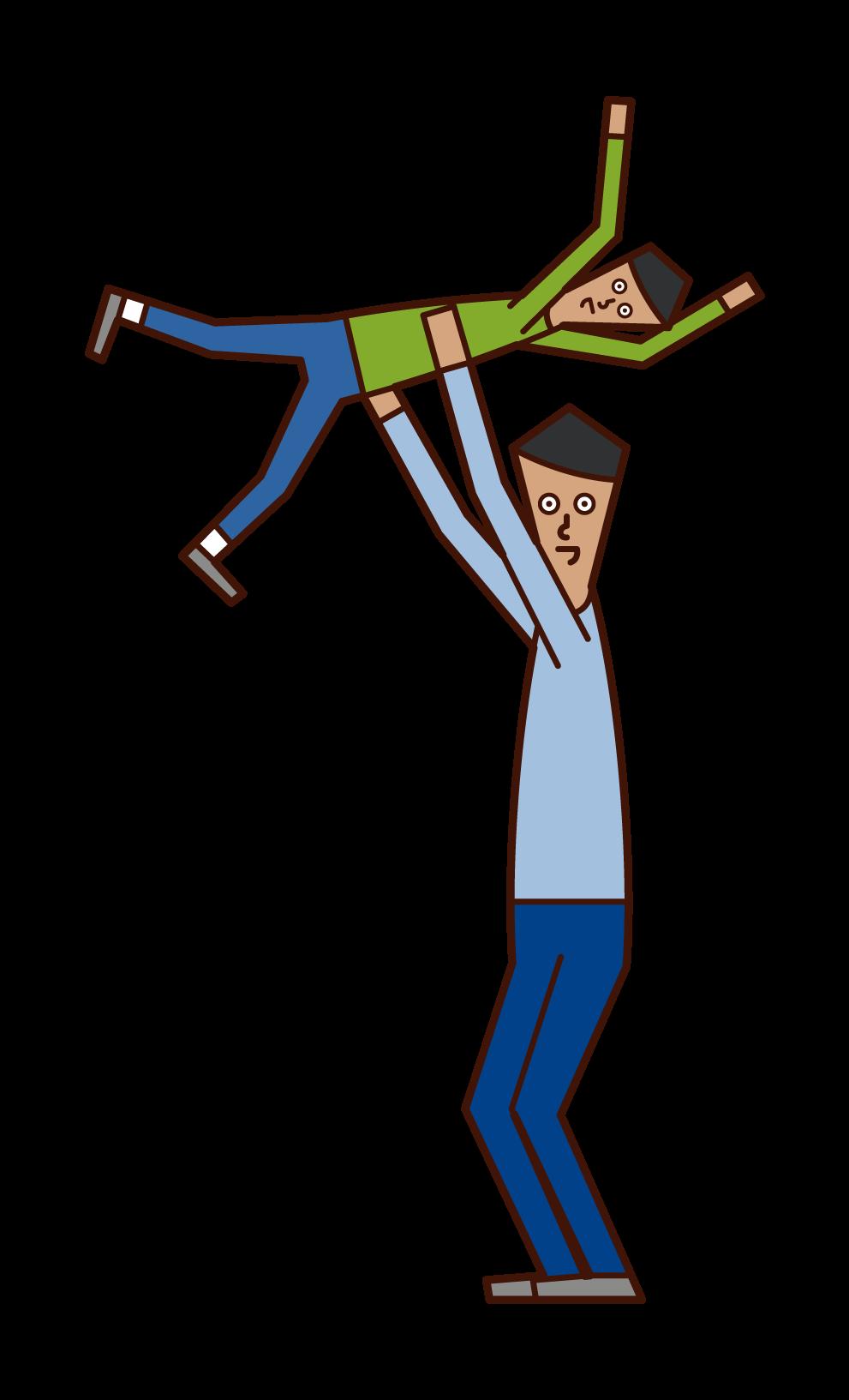 子供と遊ぶ人(男性)のイラスト
